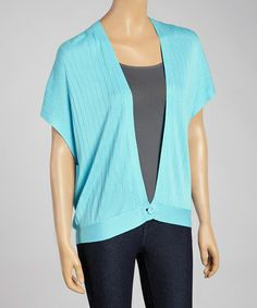 Love this Aqua Single-Button Cardigan by Colour Works on #zulily! #zulilyfinds