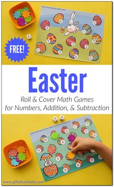 Easter Roll and Cover Math Games | Easter number learning | Easter addition | Easter subtraction | Easter printable || Gift of Curiosity