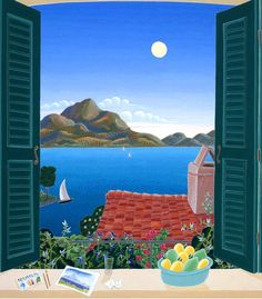 "From the album ""Spa - Relax, Indulge, Daydream"". Artwork ""Lake Como"" by Thomas McKnight. Window View, Open Window, Landscape Illustration, Illustration Art, Thomas Mcknight, Art Thomas, Naive Art, Artist Gallery, Lake Como"