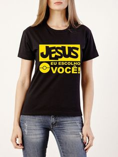 Camiseta Preta - Jesus eu escolho você 100% Algodão Fio 30.1 Penteado Com  estampa na 285515bbc525f