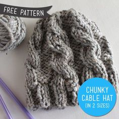 When I'm ready to try cables.. Free Pattern – Chunky Cable Knit Hat.. will need 1 skein Lion Brand Wool-Ease Thick & Quick or equivalent (For the blue hat I used Lion Brand Hometown USA) US size 13 straight knitting needles & cable needle