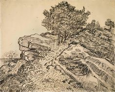 Vincent van Gogh's The rock of Montmajour with pine trees, 1888