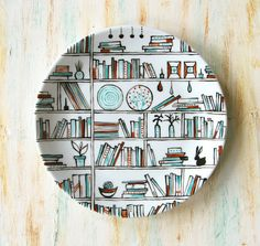 Decorative hand drawn and painted porcelain plate by roootreee