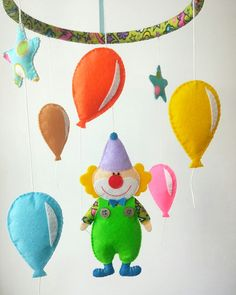 Baby mobile, crib mobile, nursery mobile, circus mobile, clown bobile, felt baby mobile, cot mobile, hanging mobile, boy mobile, girl mobile  Hoop covered in felt 7.8 inch(20 cm)  Approximate...