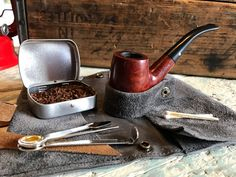 Small Pipe Roll / Pouch - Grey Suede Leather with Removable Pipe Rest and Tobacco Tin