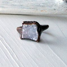 geode ring druzy copper agate gem stone frost sugared white