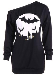 One Shoulder Bat Print Sweatshirt