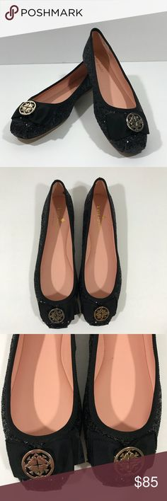 NWOT Kate Spade Fontana Glitter Flat These Kate Spade Fontana Glitter Flats are so cute!! Beautiful black glitter throughout with a medallion bow. A little imperfection on the piping which is pictured but not major. These are new without the box. Size 7 kate spade Shoes Flats & Loafers