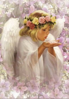 GIF - Angel blowing kisses your way Baby Engel, Images Vintage, I Believe In Angels, Angel Pictures, Angel Images, Angels Among Us, Angels In Heaven, Heavenly Angels, Guardian Angels