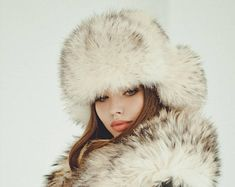 7f5395e097c Real raccoon white fur hat for women Russian ushanka hat Fur trapper hat  Luxury Christmas gift