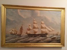 """Photo taken in the Nickerson Gallery in 2014: Ship """"Leland"""" """"Passing the Downs on Her Way to London"""" Capt. Nathaniel Kendrick. the Leland was built in Medford, MA in 1839. #atwoodhouse, #leland, #ship, #nickersongallery, #capecod, #chatham, #chathamhistoricalsociety"""