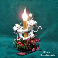 Primitive Candle Light Mouse Marshmallow Roast by MotherlodeToad, $28.00
