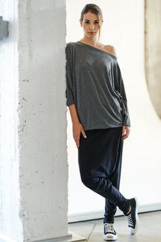 Loose Gray-Brown Тop / Oversized Cotton Blouse / by AryaSense