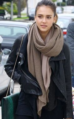 I personally love Jessica Alba's style and how its not always one note. I also want to steal that jacket and scarf off her.