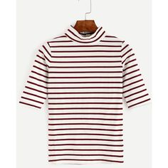 Burgundy Striped High Neck T-shirt (€8,96) ❤ liked on Polyvore featuring tops, t-shirts, burgundy, striped tee, stripe t shirt, sleeve t shirt, burgundy t shirt and stripe tee
