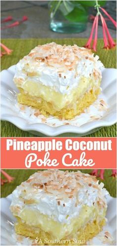 Coconut Pineapple Cake, Coconut Poke Cakes, Pineapple Desserts, Cake With Pineapple, Angelfood Pineapple Cake, Pineapple Cake Mix Recipe, Pineapple Ideas, Tropical Desserts, Pineapple Recipes