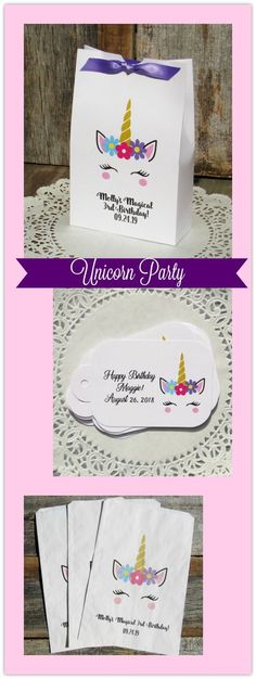 Unicorn Party Favors, we offer favor boxes, favor tags or favor bags all personalized for your Unicorn Party! by abbeyandizziedesigns.com #unicornparty #unicornbirthdayparty