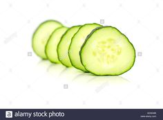 Download this stock image: Line up cucumber slices - GDWA88 from Alamy's library of millions of high resolution stock photos, illustrations and vectors.
