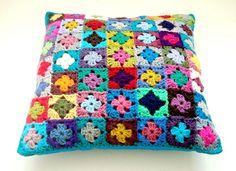 Amazing Crochet Cushion / Pillow Cover - multi coloured mini granny squares patchwork - 16 inch