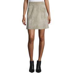 Derek Lam Patchwork Suede Mini Skirt ($2,250) ❤ liked on Polyvore featuring skirts, mini skirts, fawn, women's apparel skirts, brown skirt, high-waist skirt, high waisted skirts, brown suede mini skirt and high-waisted skirts