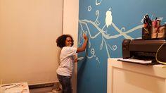 Muurschildering Love Birds