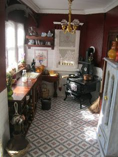 MI MUNDO EN MINIATURA: COCINA TERMINADA!! this looks like it could be the kitchen of the Willowcrest doll's house