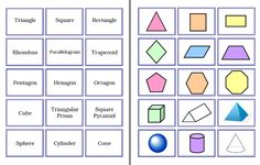 Here's a set of cards to match 2- and 3-D shapes with their names.