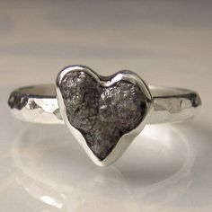 Heart Shaped Rough Black Diamond Ring  Sterling by artifactum, $240.00
