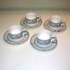 Vintage Mikasa Intaglio Tropical Island Cups & Saucers
