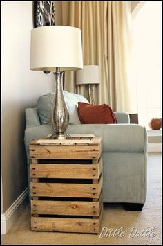 and an end table made of pallets- I thought this could be painted (or even wrapped in material??)