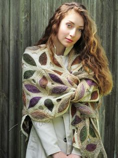 "Knit shawl ""Renaissance"" (knitted shawl, handmade wrap, knitting wool shawl, knit patchwork, stained-glass)"