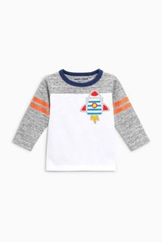 Buy Appliqué Rocket Long Sleeve T-Shirts Three Pack from the Next UK online shop Latest Fashion For Women, Kids Fashion, Boys T Shirts, Boy Shorts, Baby Wearing, Uk Online, Toddler Boys, Baby Boy, Cute Outfits