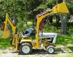 Garden tractor, upgrades, loaders, and backhoes CAD Plans by P. Engineering, and sample pictures and videos of those. John Deere Garden Tractors, Yard Tractors, Small Tractors, Compact Tractors, Tractor Loader, Backhoe Loader, Garden Tractor Attachments, Trailers, Homemade Tractor