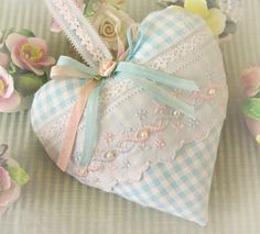 Valentine Heart Pillow 6 X 6 Door Hanger Aqua by CharlotteStyle, $22.00