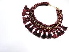 Tassel necklace in burgundy red