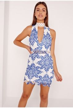 236e8a2ec835a Dresses UK | New Dresses For Women Online. Lace Choker Neck Bodycon Dress  Blue - Missguided