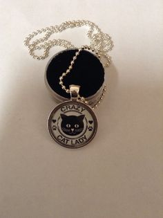 Crazy cat lady photo pendant with chain  by TrailsWestTrading