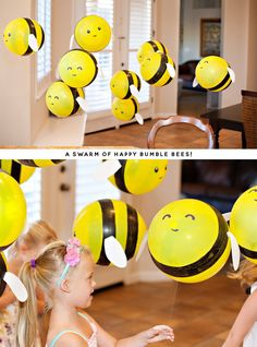 DIY Bumble Bee Balloons (Tutorial & Video) // Hostess with the Mostess® - Buzz, buzz, buzzzzzzzzzzzz! These DIY Bumble Bee Balloons are such a fun project for any bee-themed - Party Ballons, Baby Dekor, Bumble Bee Birthday, Festa Party, Balloon Decorations, Balloon Ideas, Bumble Bee Decorations, Balloon Balloon, Ballon Diy