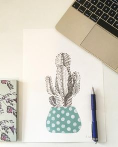 Unique hand drawn illustration of a cactus. The pot is painted with acrylic paint. This is one of a kind and made on watercolor paper. -Size x -Handmade -Signed Feel free to send me a message if you have any questions. Cactus Illustration, Cactus Drawing, Cacti, Watercolor Paper, How To Draw Hands, Drawings, Handmade, Painting, Cactus Plants