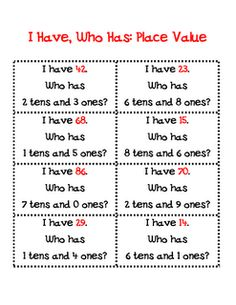 """I have__ who has__?"" place value math center"