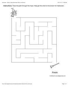 Halloween maze worksheet with a witch and broom. 4 levels of difficulty (maze changes each time you visit)
