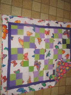 4 patch butterfly baby quilt