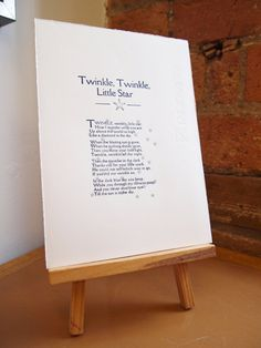 Gift something original. A hand printed nursery rhyme makes a perfect Christmas, Birthday or Christening gift and adds a fabulous finishing