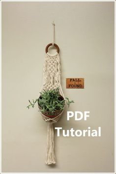 Make your own Macramé Plant Hanger! This listing is for a digital PDF download of a pattern, not a finished product. An impressive but easy pattern. Great for beginners! This tutorial includes 14 detailed photos with step by step instructions to complete your very own Fall & Found style plant hanger. The finished product measures approximately 25 long and 4 wide. You can choose a pot up to 6 in diameter or smaller. Hang it on the wall, in the window or from the ceiling! You will need to ...