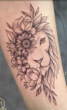 Side Thigh Tattoos Women, Half Sleeve Tattoos Forearm, Lion Tattoo Sleeves, Girls With Sleeve Tattoos, Shoulder Tattoos For Women, Side Tattoos, Flower Tattoos On Thigh, Mandala Lion Tattoo, Piercing Tattoo