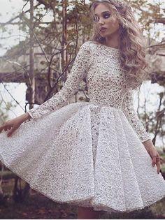 White Long-Sleeves Short Glamorous Full-Lace Homecoming Dress BA3645_High Quality Wedding Dresses, Prom Dresses, Evening Dresses, Bridesmaid Dresses, Homecoming Dress - 27DRESS.COM
