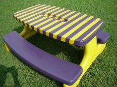 Refinish a tired picnic table..This is such a great idea..mainly because I always see old picnic tables dirt cheap on Craigslist so if I found a pretty sturdy one, this would be cute in the backyard for grilling and eating outside in the Spring!GO LSU