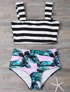 Tropical de la impresión del bikini de rayas Conjunto
