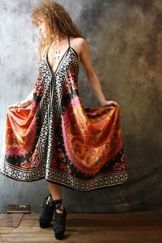 Vintage 1980s Hippie Gypsy India Scarf Dress Halter Backless