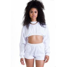 Short Set White ($60) ❤ liked on Polyvore featuring outfits, tops, models and bottoms